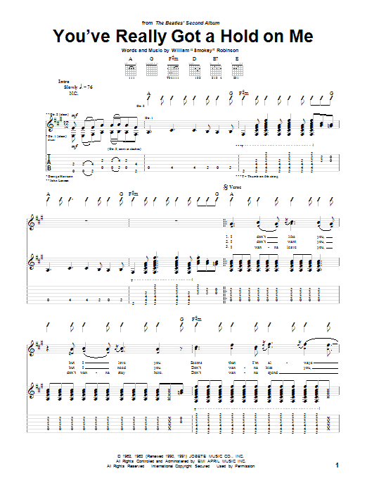 The Beatles You've Really Got A Hold On Me sheet music notes and chords. Download Printable PDF.