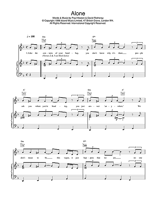 The Beautiful South Alone sheet music notes and chords