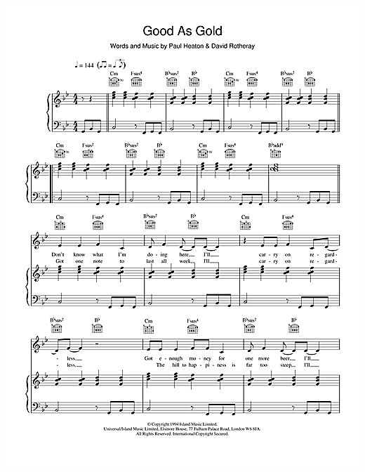 The Beautiful South Good As Gold (Stupid As Mud) sheet music notes and chords