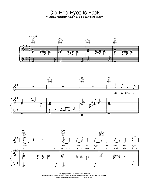 The Beautiful South Old Red Eyes Is Back sheet music notes and chords