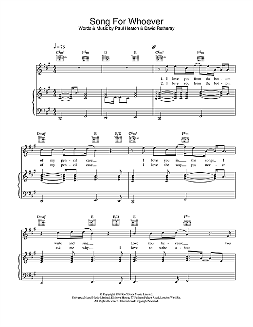 The Beautiful South Song For Whoever sheet music notes and chords