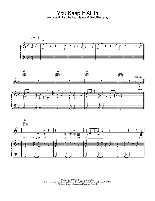 The Beautiful South You Keep It All In sheet music notes and chords