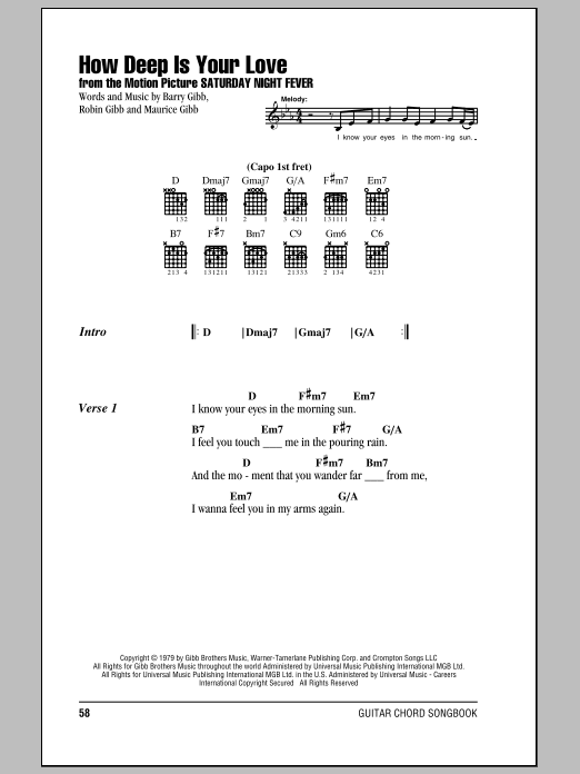 The Bee Gees How Deep Is Your Love sheet music notes and chords. Download Printable PDF.