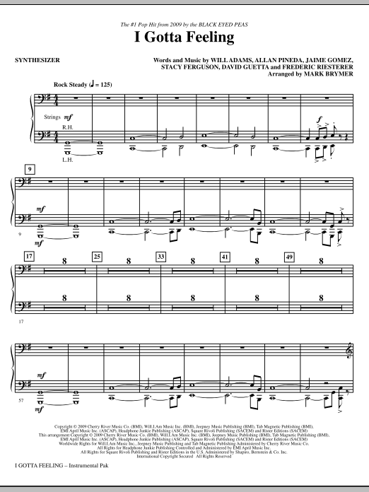 Mark Brymer I Gotta Feeling - Synthesizer sheet music notes and chords. Download Printable PDF.
