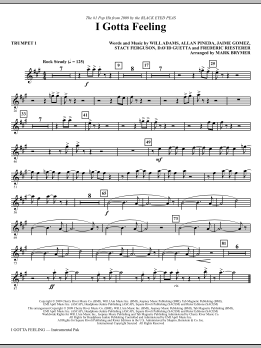Mark Brymer I Gotta Feeling - Trumpet 1 sheet music notes and chords. Download Printable PDF.