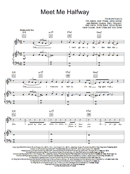 The Black Eyed Peas Meet Me Halfway sheet music notes and chords. Download Printable PDF.