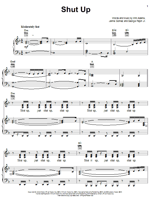 The Black Eyed Peas Shut Up sheet music notes and chords. Download Printable PDF.