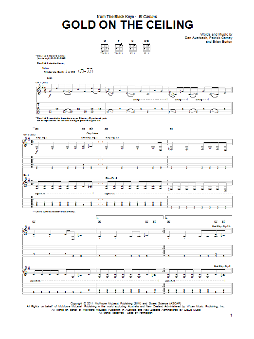 The Black Keys Gold On The Ceiling sheet music notes and chords. Download Printable PDF.