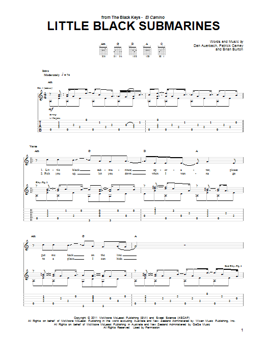 The Black Keys Little Black Submarines sheet music notes and chords. Download Printable PDF.