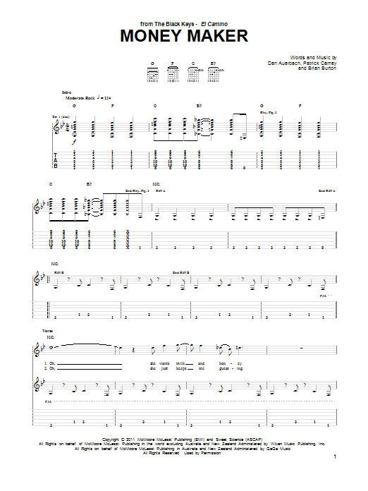 The Black Keys Money Maker sheet music notes and chords. Download Printable PDF.