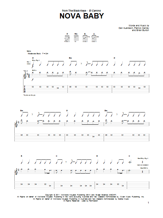 The Black Keys Nova Baby sheet music notes and chords. Download Printable PDF.