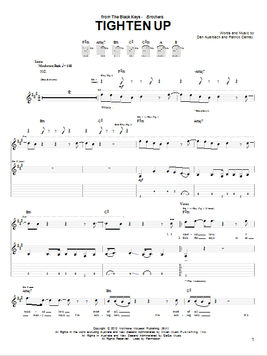 The Black Keys Tighten Up sheet music notes and chords. Download Printable PDF.