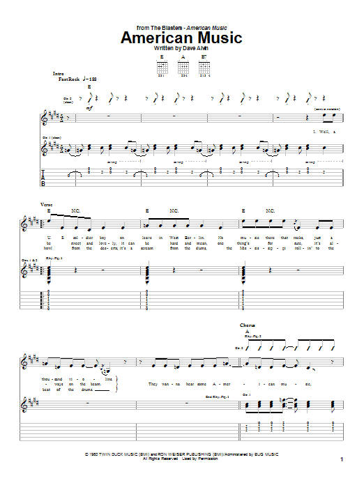 The Blasters American Music sheet music notes and chords. Download Printable PDF.