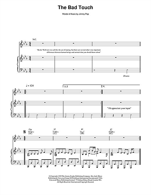 The Bloodhound Gang The Bad Touch sheet music notes and chords