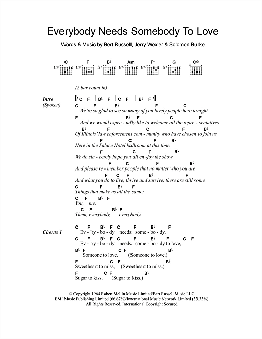 The Blues Brothers 'Everybody Needs Somebody To Love' Sheet Music Notes,  Chords | Download Printable Guitar Chords/Lyrics - SKU: 102276