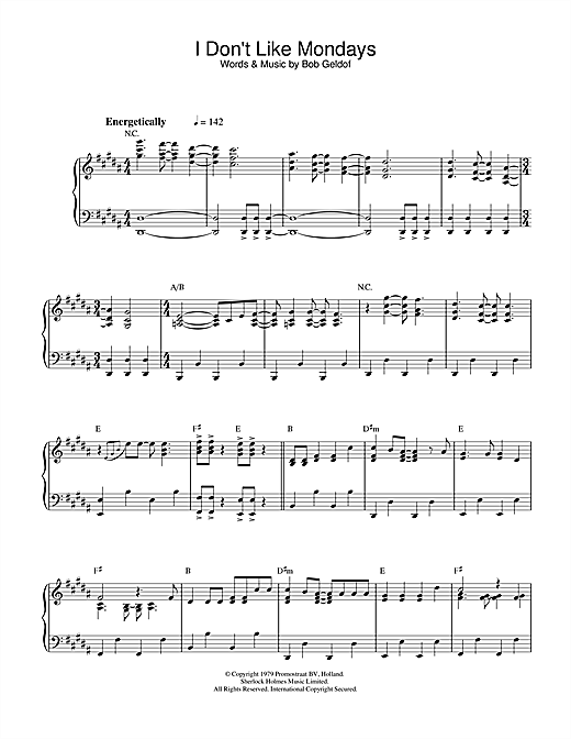 The Boomtown Rats I Don't Like Mondays sheet music notes and chords. Download Printable PDF.