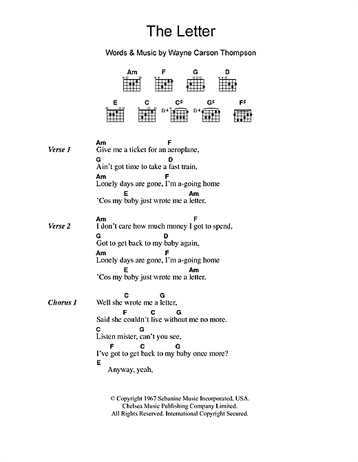 The Box Tops The Letter sheet music notes and chords. Download Printable PDF.