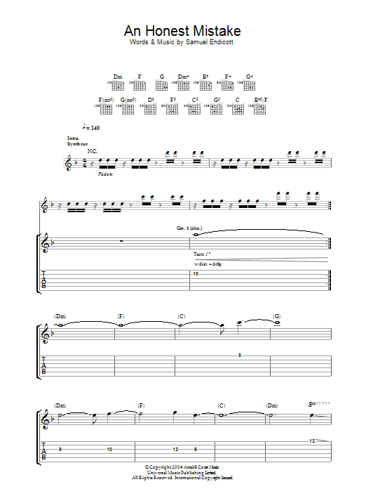 The Bravery Honest Mistake sheet music notes and chords. Download Printable PDF.