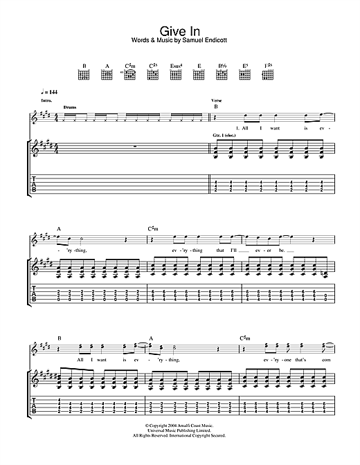 The Bravery Give In sheet music notes and chords. Download Printable PDF.