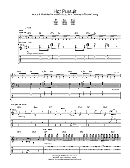 The Bravery Hot Pursuit sheet music notes and chords. Download Printable PDF.