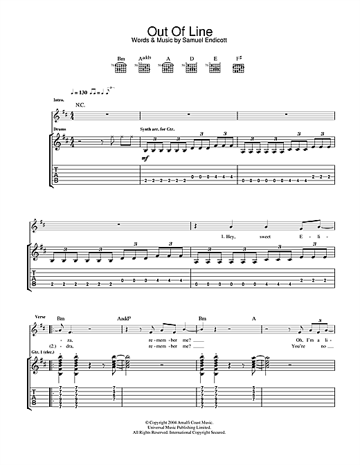 The Bravery Out Of Line sheet music notes and chords. Download Printable PDF.