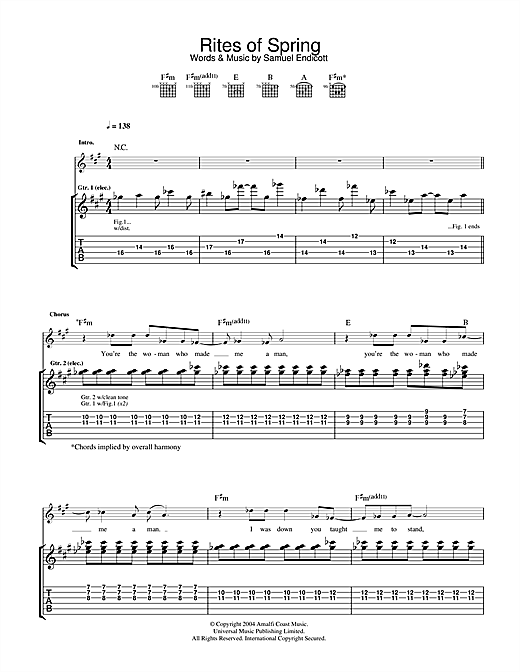 The Bravery Rites Of Spring sheet music notes and chords. Download Printable PDF.