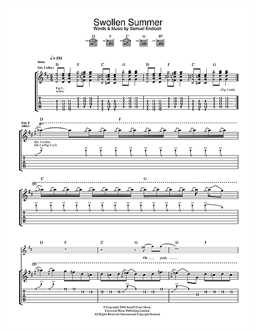 The Bravery Swollen Summer sheet music notes and chords. Download Printable PDF.