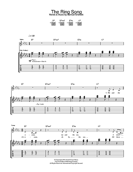 The Bravery The Ring Song sheet music notes and chords. Download Printable PDF.