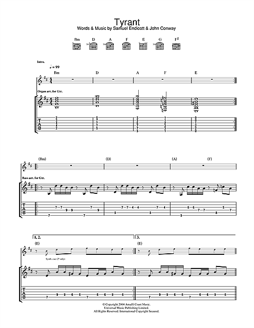 The Bravery Tyrant sheet music notes and chords. Download Printable PDF.