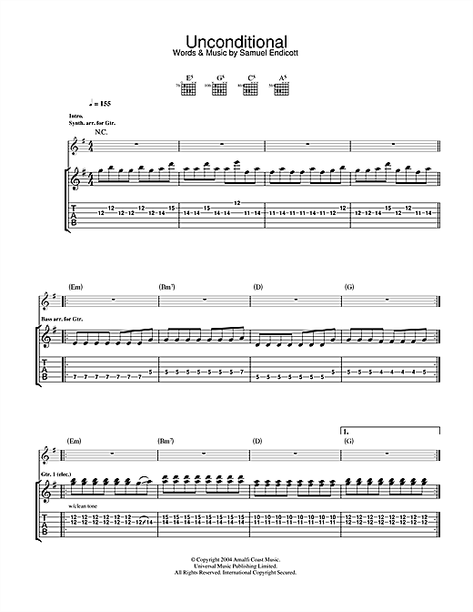The Bravery Unconditional sheet music notes and chords. Download Printable PDF.