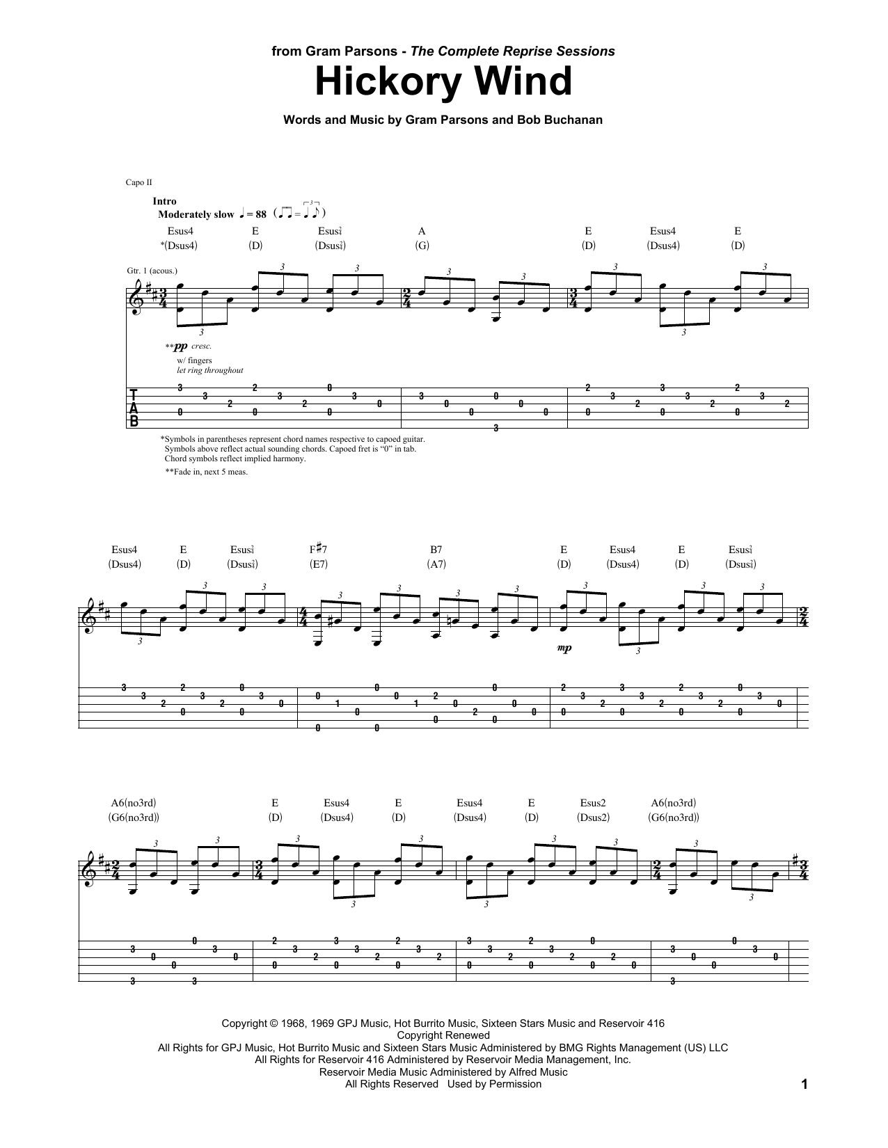 The Byrds Hickory Wind Sheet Music Notes, Chords   Download Printable  Guitar Tab PDF Score   SKU 15