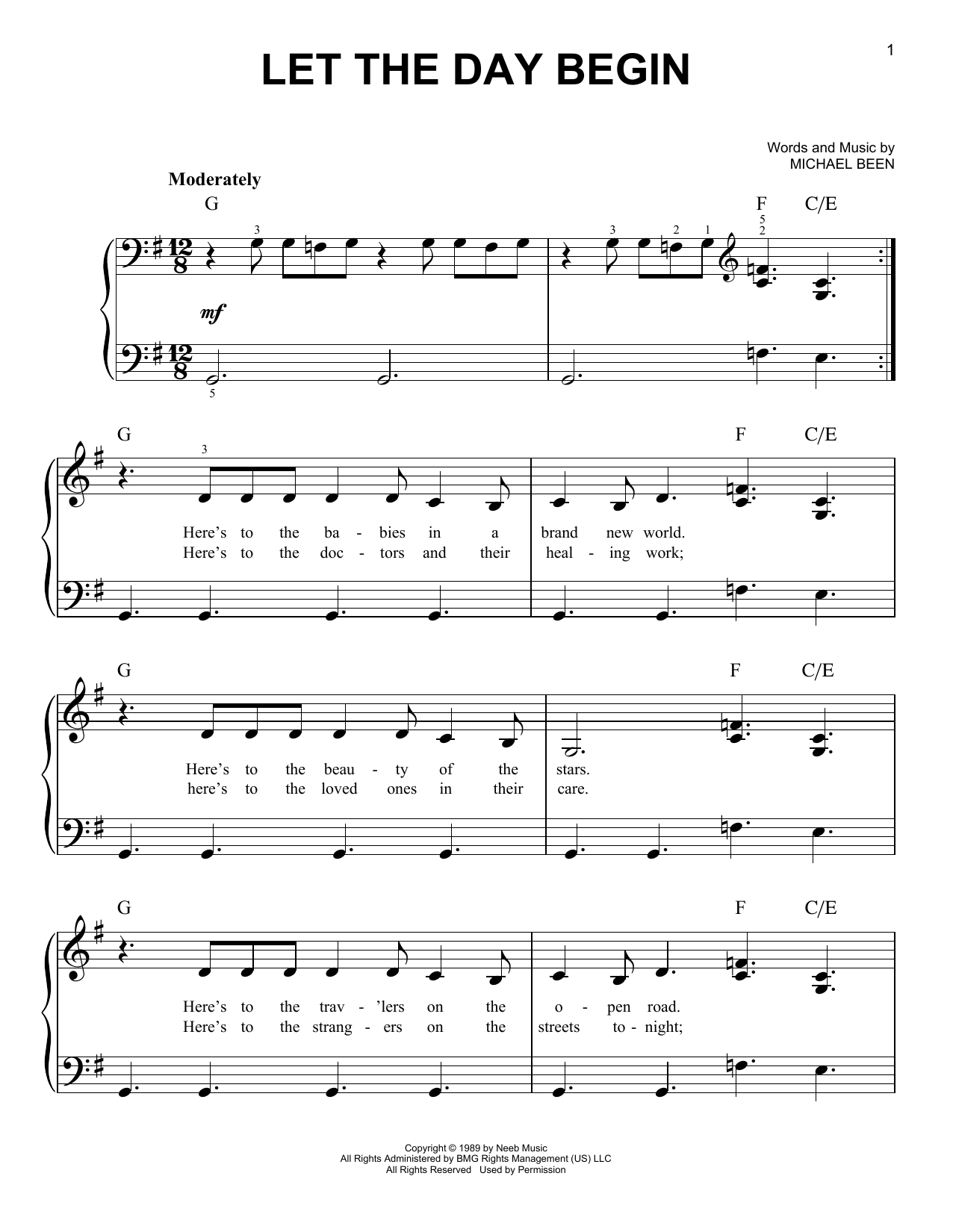 The Call Let The Day Begin sheet music notes and chords. Download Printable PDF.