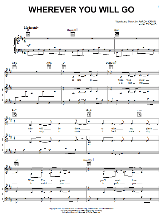 The Calling Wherever You Will Go sheet music notes and chords. Download Printable PDF.