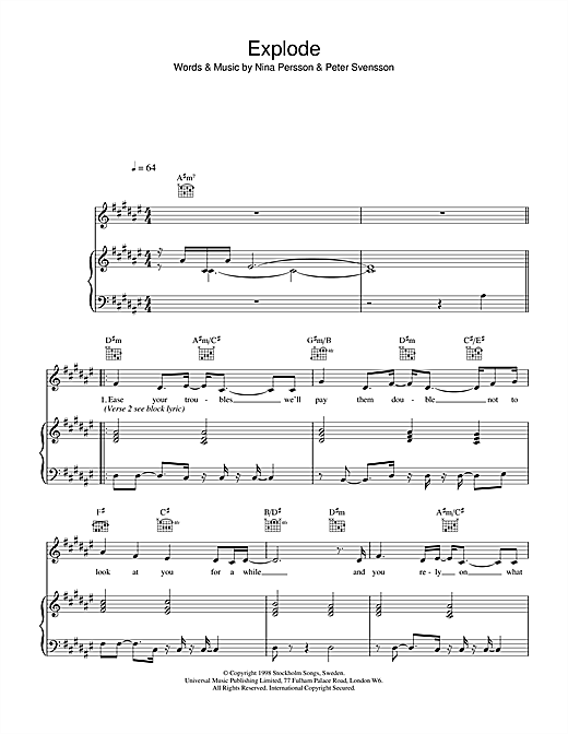 The Cardigans Explode sheet music notes and chords. Download Printable PDF.