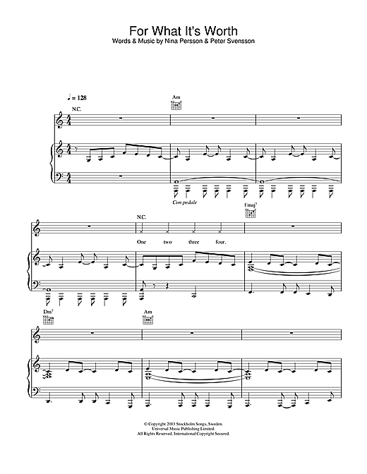 The Cardigans For What It's Worth sheet music notes and chords. Download Printable PDF.