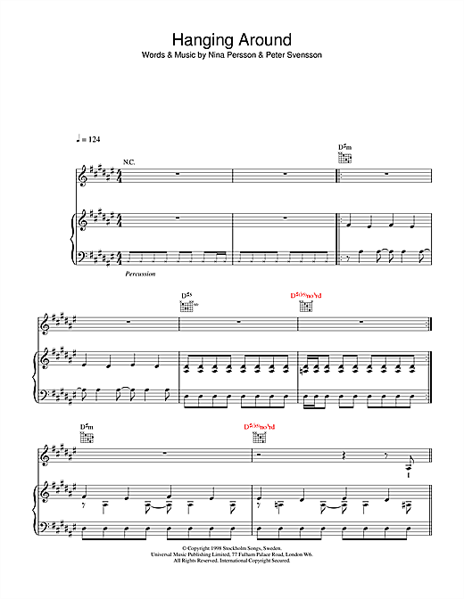The Cardigans Hanging Around sheet music notes and chords. Download Printable PDF.