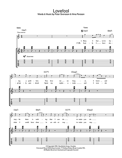 The Cardigans Lovefool sheet music notes and chords. Download Printable PDF.