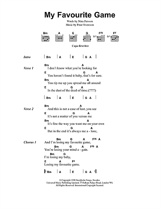 The Cardigans My Favourite Game sheet music notes and chords