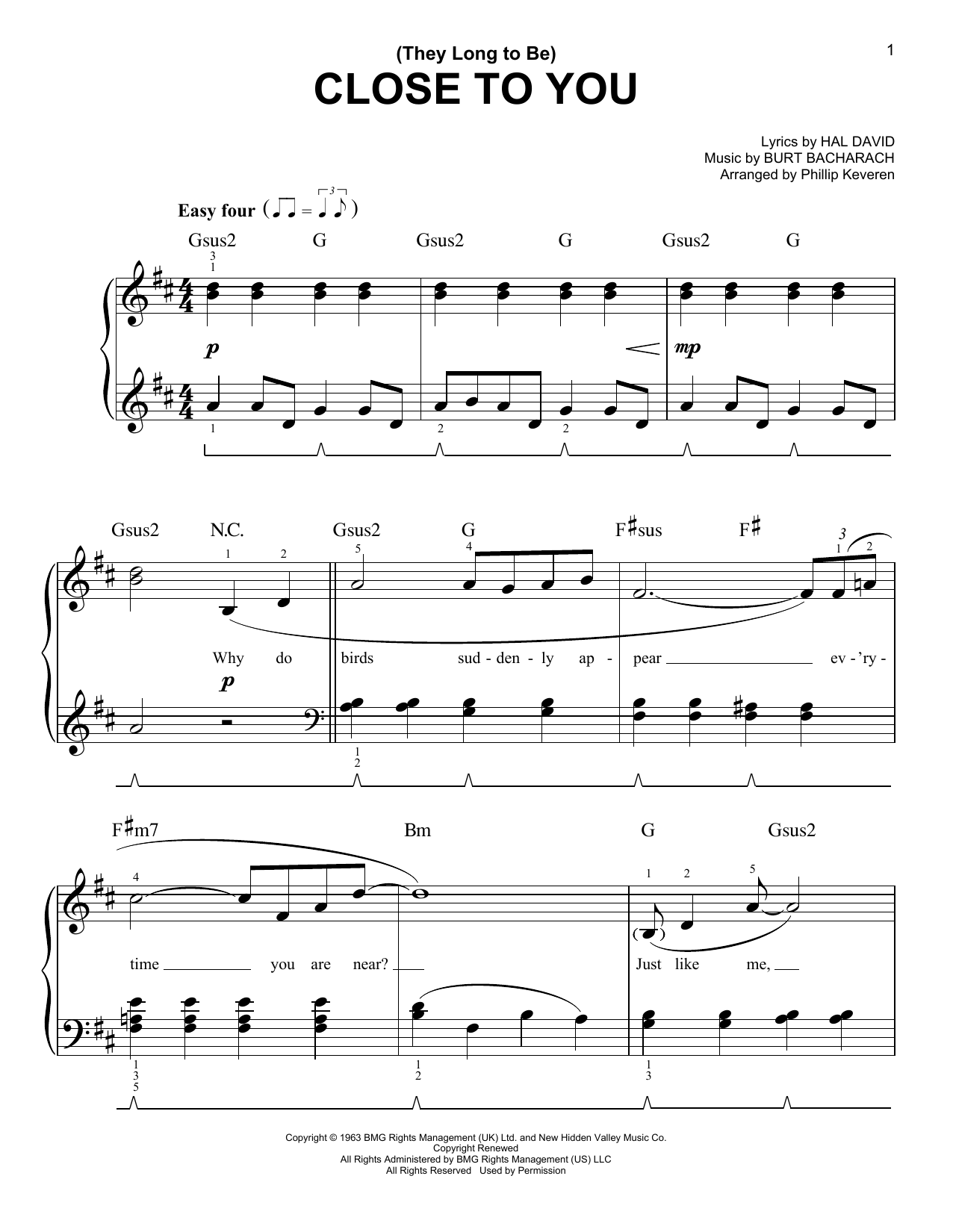 Music Sheet Partition Free Close To You Carpenters Piano Sheet Music