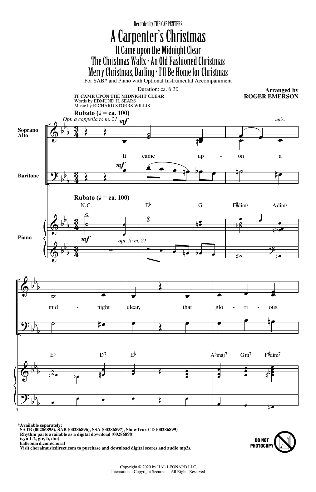 The Carpenters A Carpenter's Christmas (arr. Roger Emerson) sheet music notes and chords. Download Printable PDF.