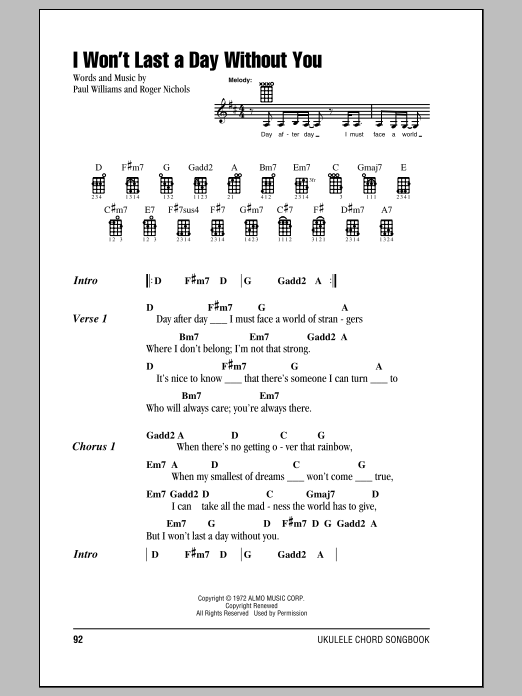 Carpenters I Won't Last A Day Without You sheet music notes and chords. Download Printable PDF.