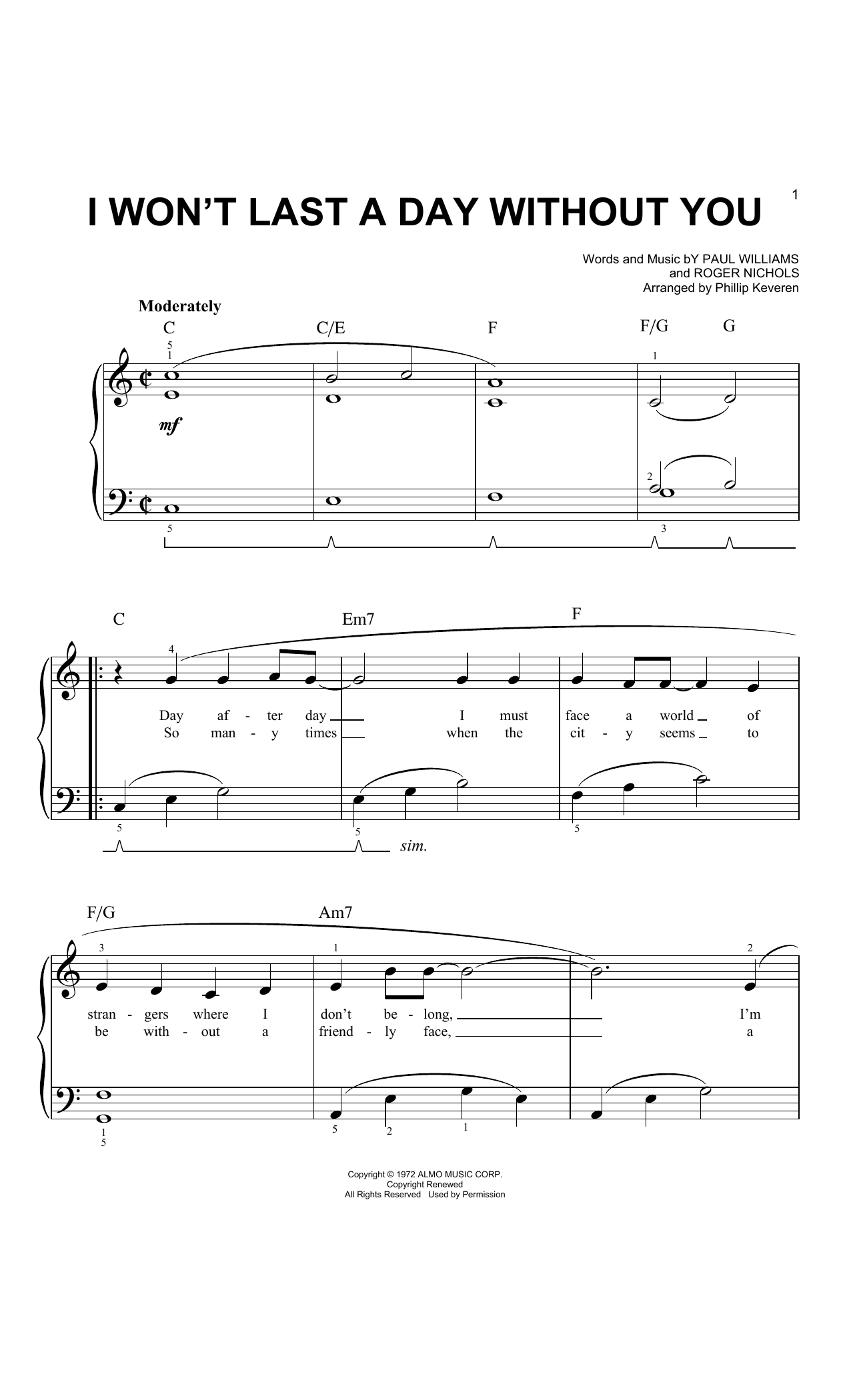 The Carpenters I Won't Last A Day Without You (arr. Phillip Keveren) sheet music notes and chords