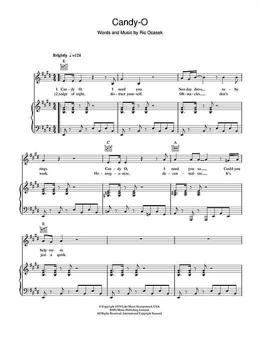 The Cars Candy-O sheet music notes and chords. Download Printable PDF.