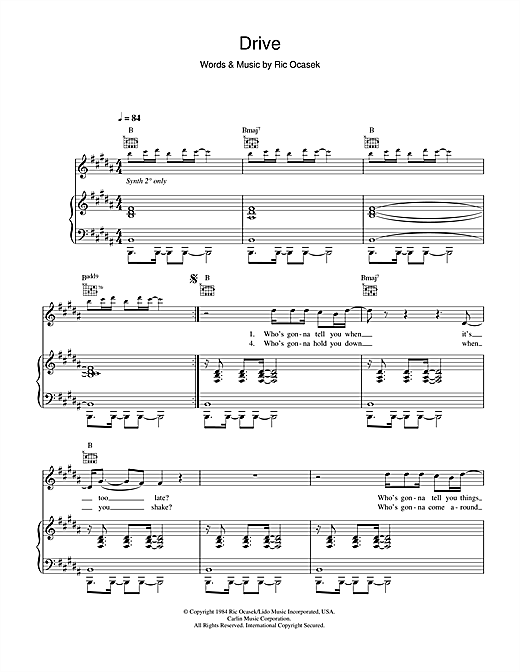 The Cars Drive sheet music notes and chords. Download Printable PDF.