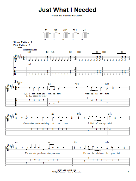 The Cars Just What I Needed sheet music notes and chords. Download Printable PDF.