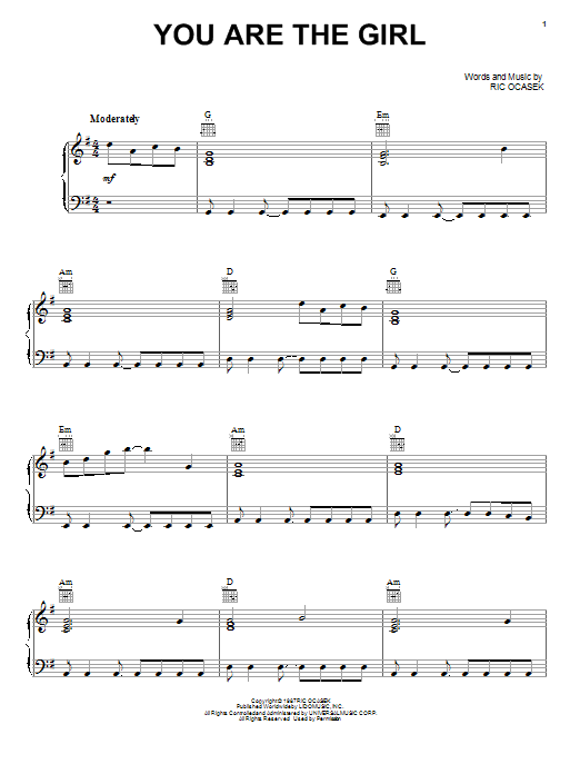 The Cars You Are The Girl sheet music notes and chords. Download Printable PDF.