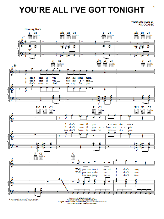 The Cars You're All I've Got Tonight sheet music notes and chords. Download Printable PDF.