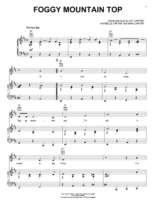 The Carter Family Foggy Mountain Top sheet music notes and chords. Download Printable PDF.