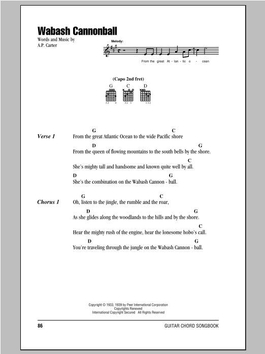 The Carter Family Wabash Cannonball sheet music notes and chords. Download Printable PDF.