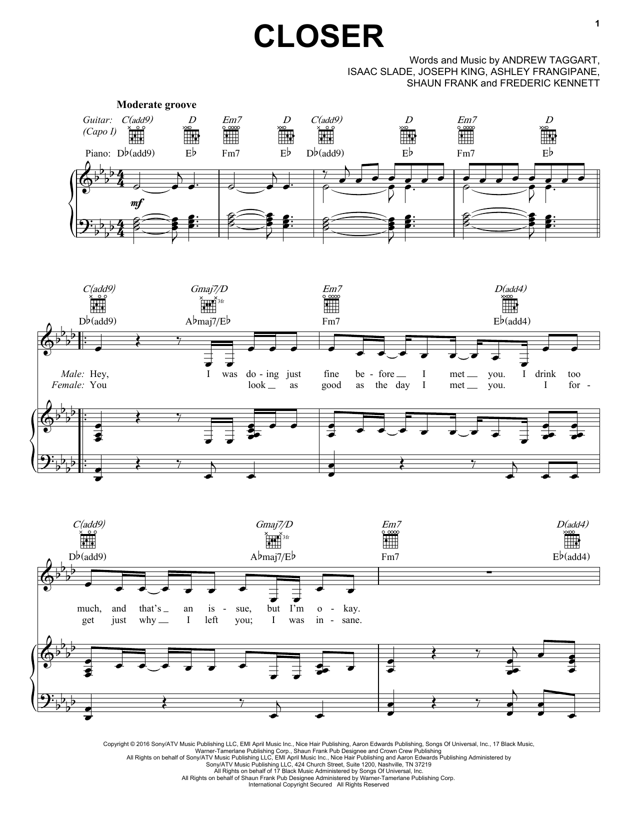 The Chainsmokers featuring Halsey Closer sheet music notes and chords